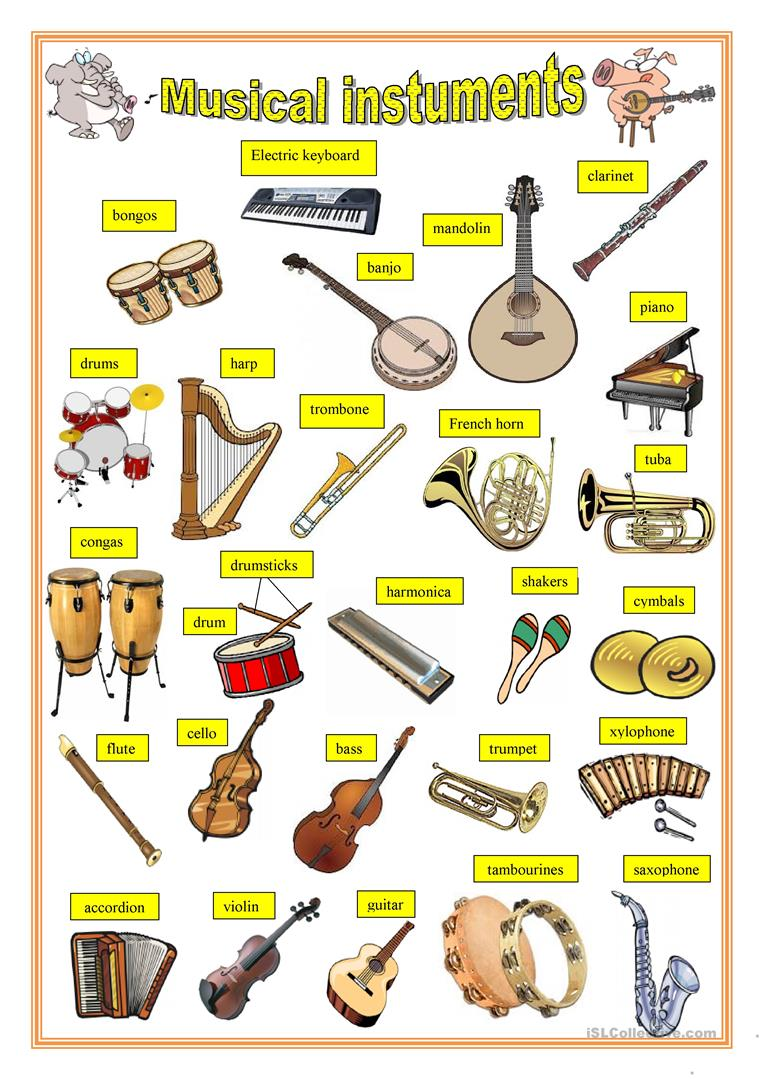 medium resolution of English ESL musical instruments worksheets - Most downloaded (45 Results)