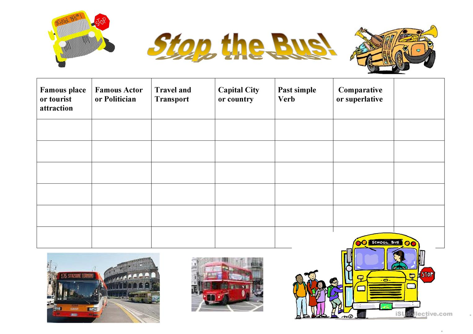 Stop The Bus Worksheet