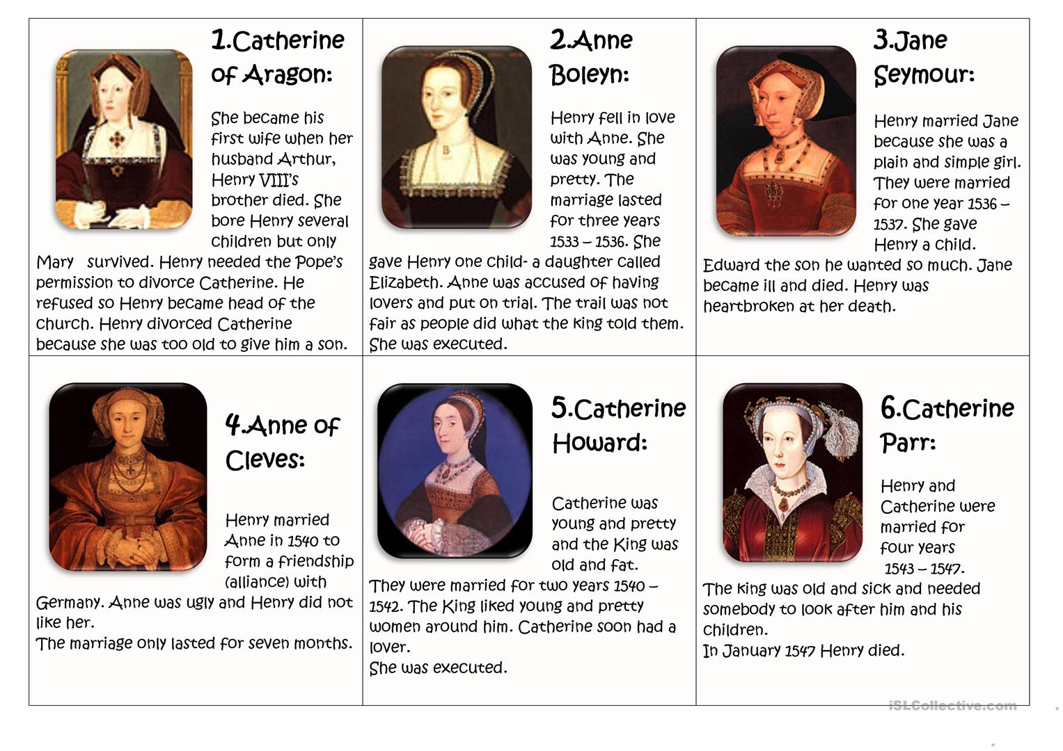 The Six Wives Of Henry Viii Worksheet