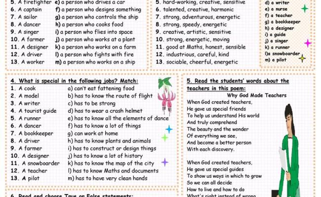What Do You Know About Jobs Worksheet Free Esl