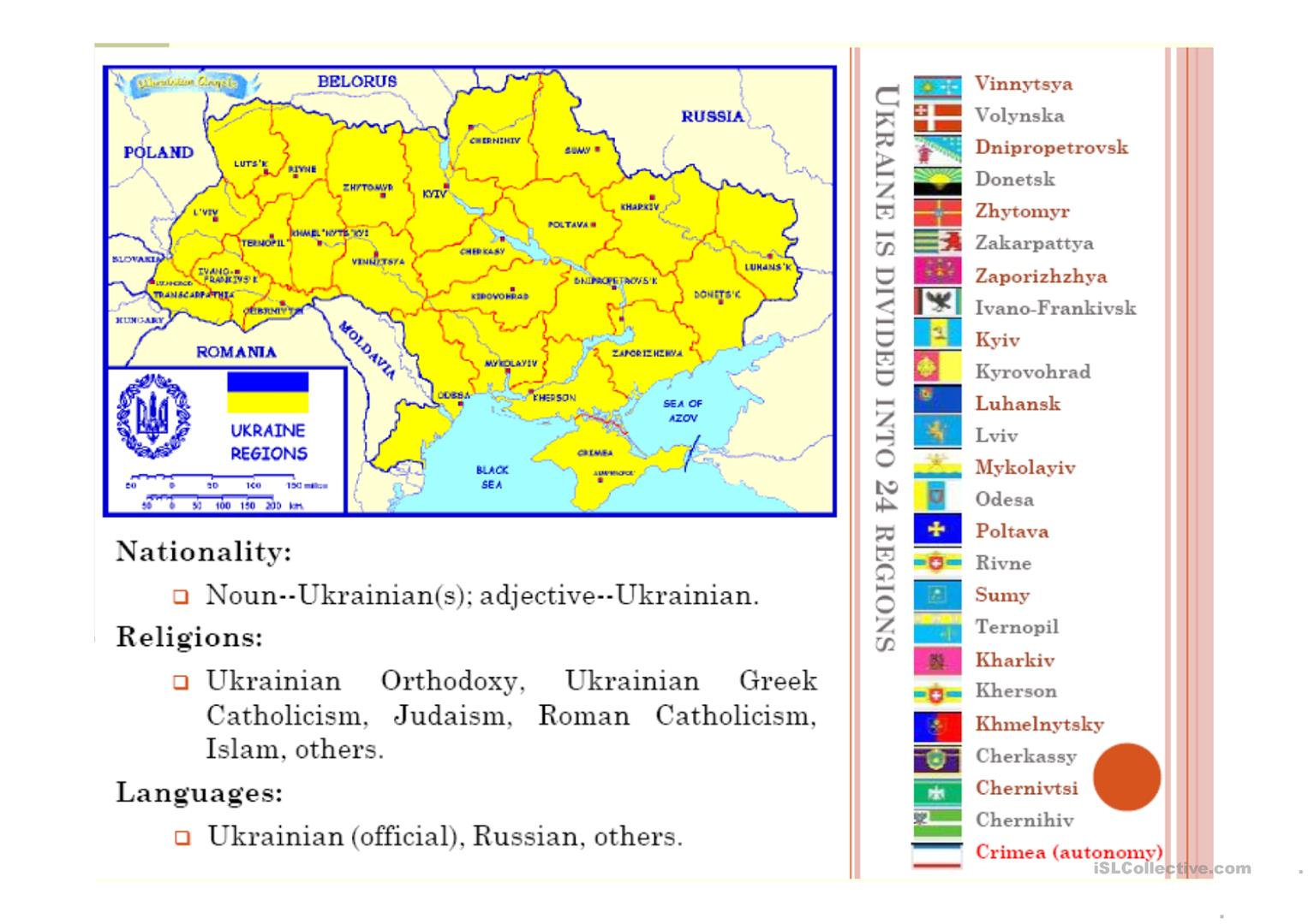 About Ukraine Worksheet