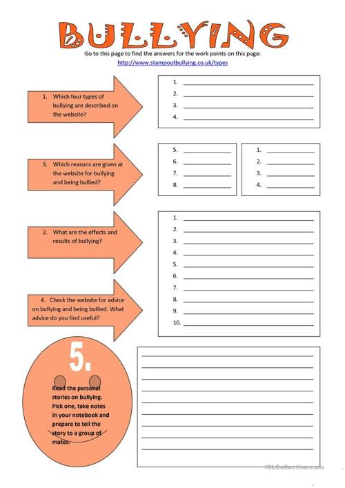 small resolution of English ESL bullying worksheets - Most downloaded (49 Results)