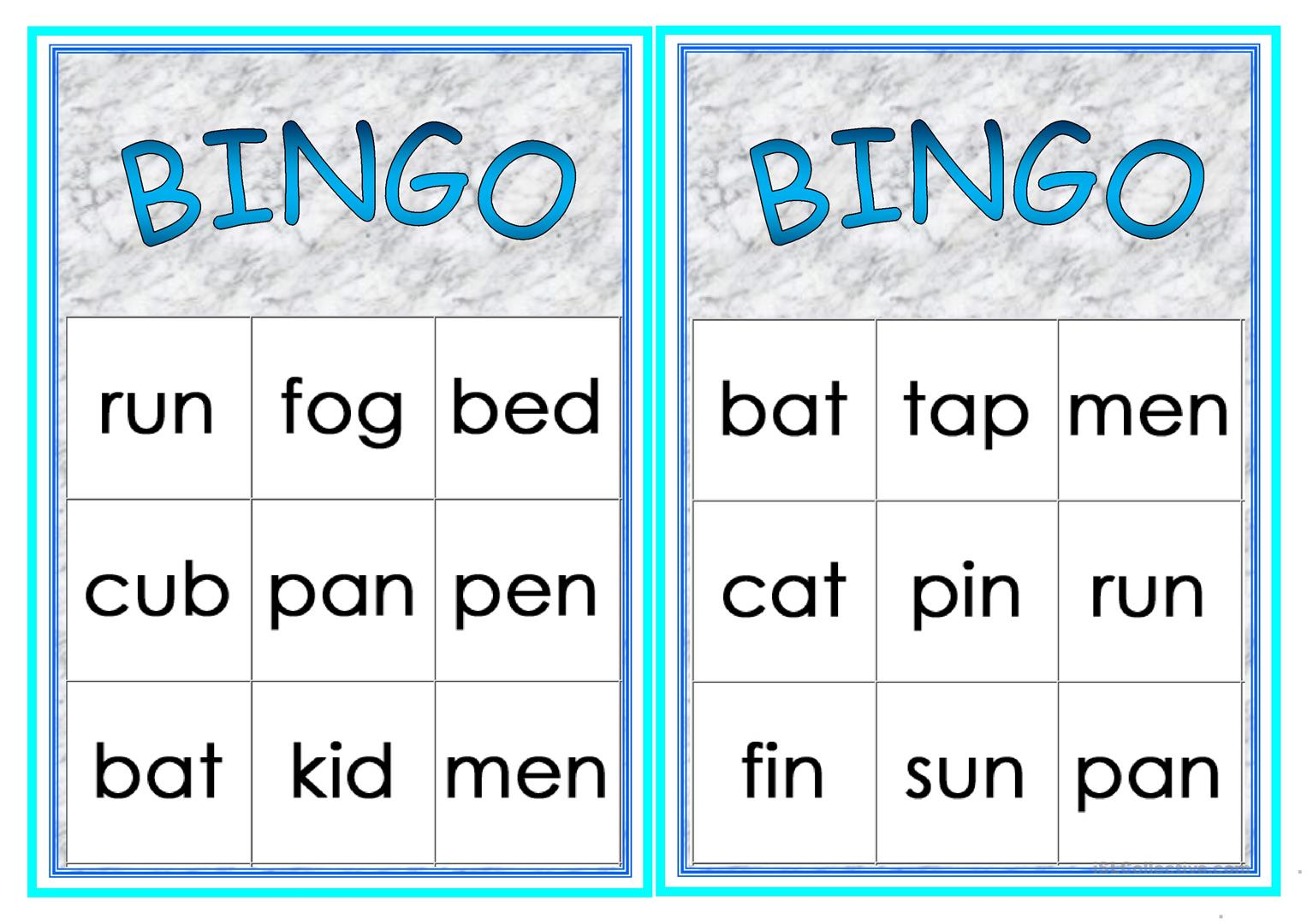 Cvc Words Bingo Worksheet