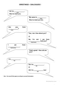 Greetings Dialogues worksheet - Free ESL printable ...
