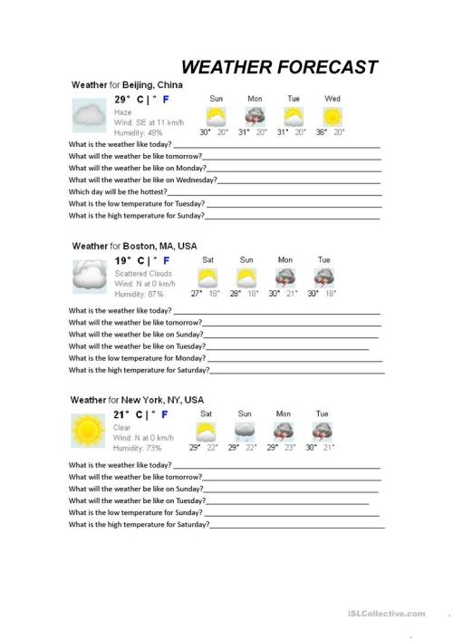 small resolution of Weather Forecasts - English ESL Worksheets for distance learning and  physical classrooms