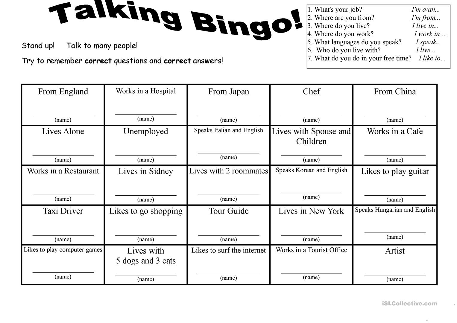 7 Questions Talking Bingo With Role Play Cards Worksheet