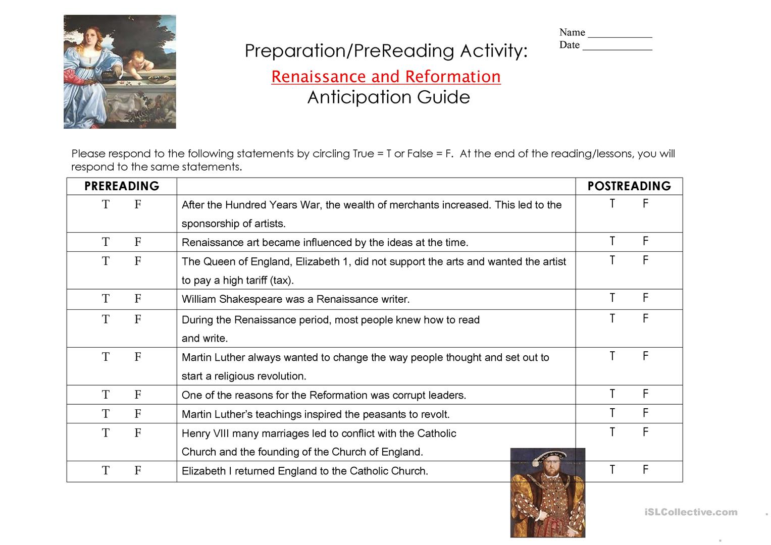 Anticipation Guide Worksheet