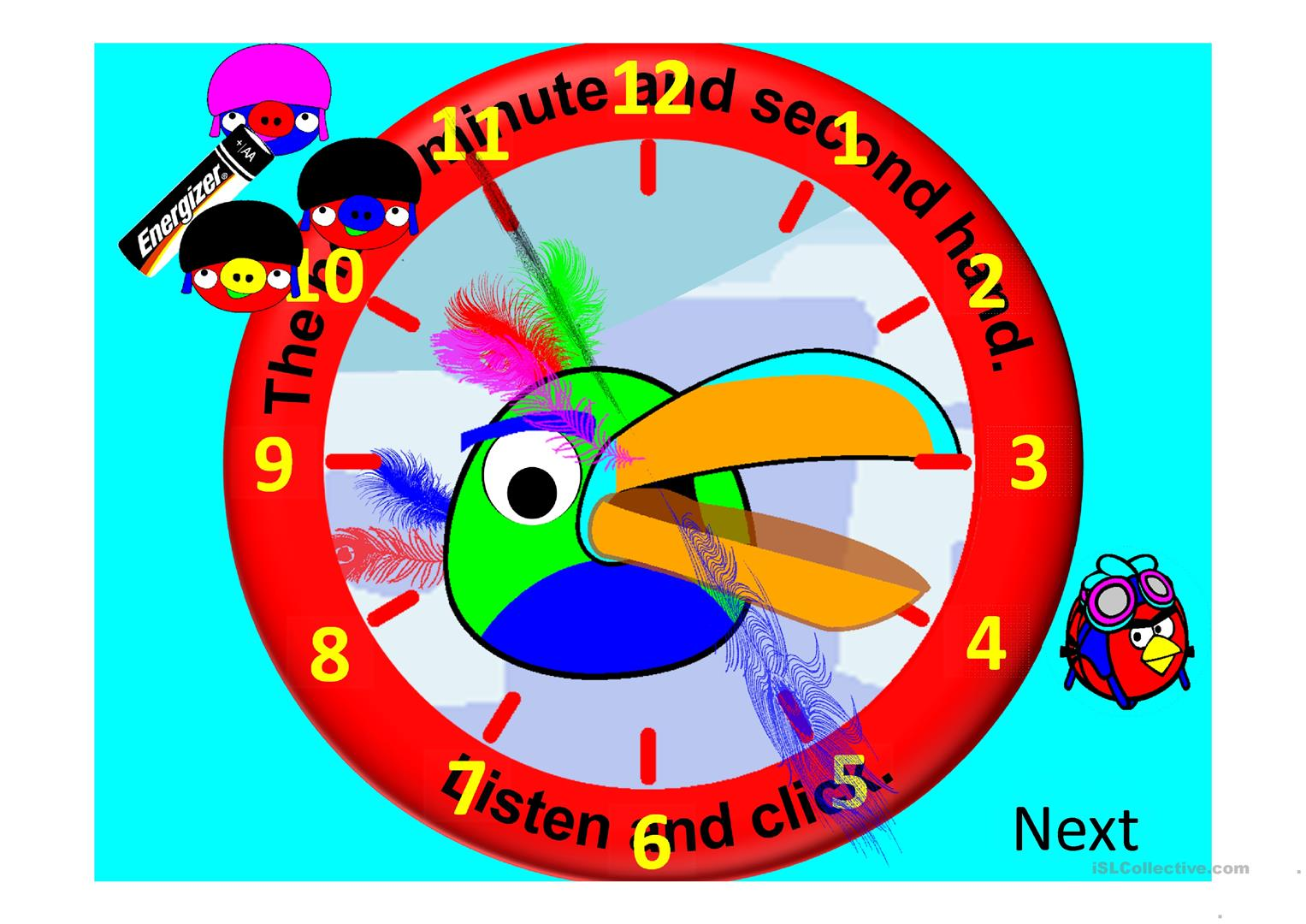 Hands On A Clock Animated With Sound Worksheet
