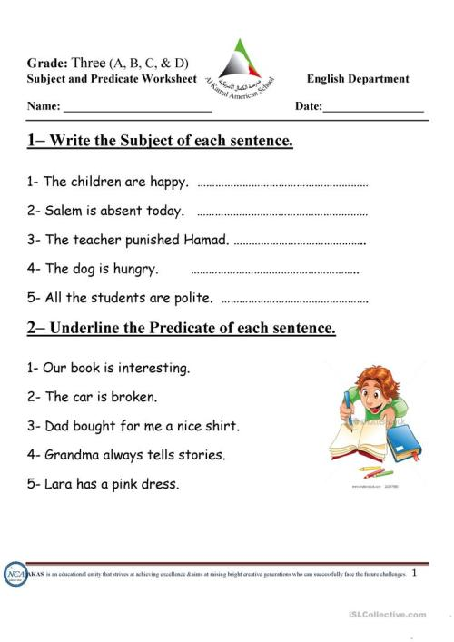 small resolution of subject and predicate - English ESL Worksheets for distance learning and  physical classrooms