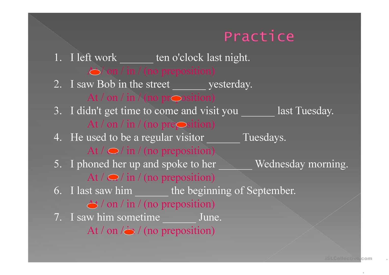 Time Expressions Worksheet