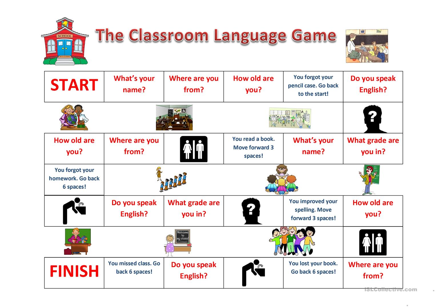 Classroom Language Game Worksheet