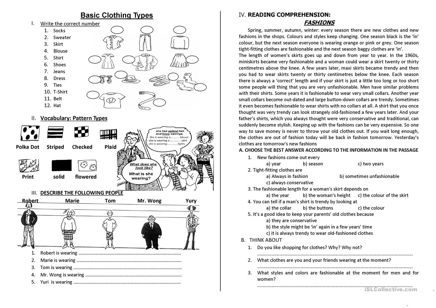 Clothing Pattern Types Worksheet