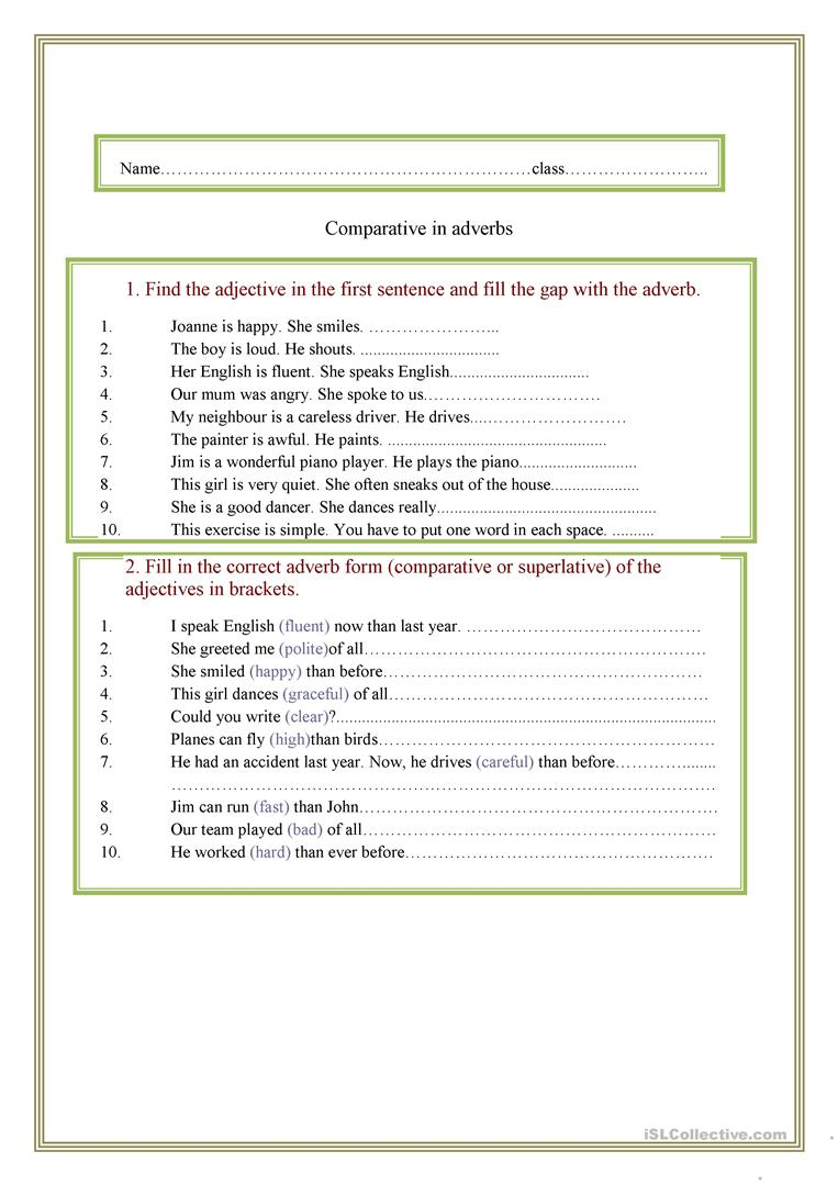 hight resolution of comparison of adverbs - English ESL Worksheets for distance learning and  physical classrooms