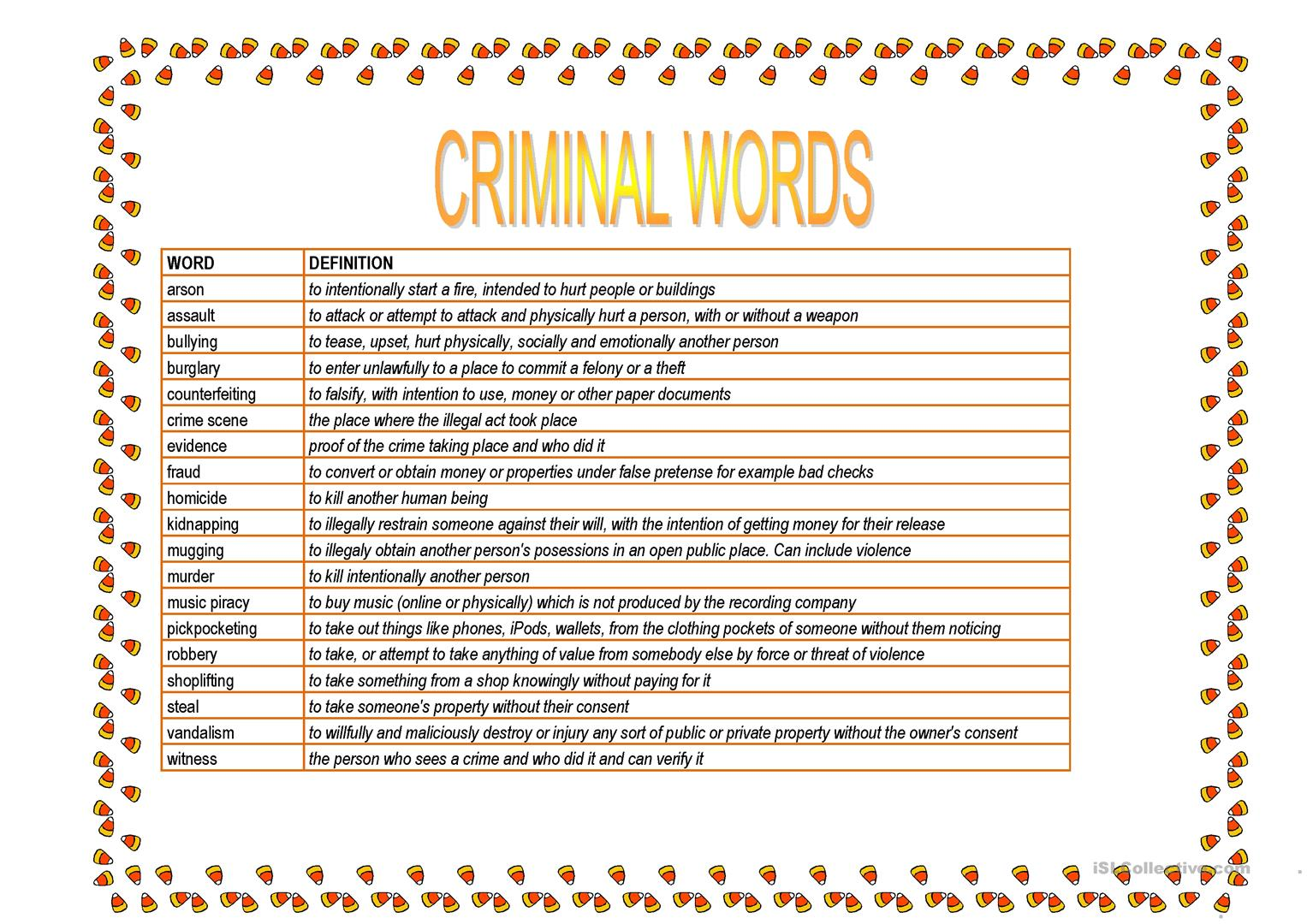 Criminal Words Worksheet