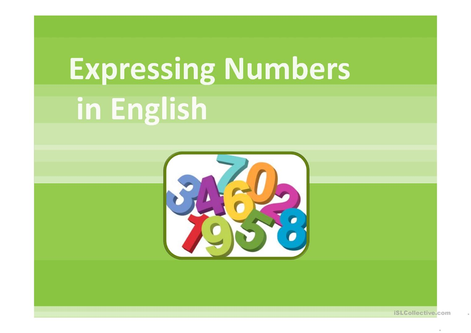 Expressing Numbers Ppt Worksheet