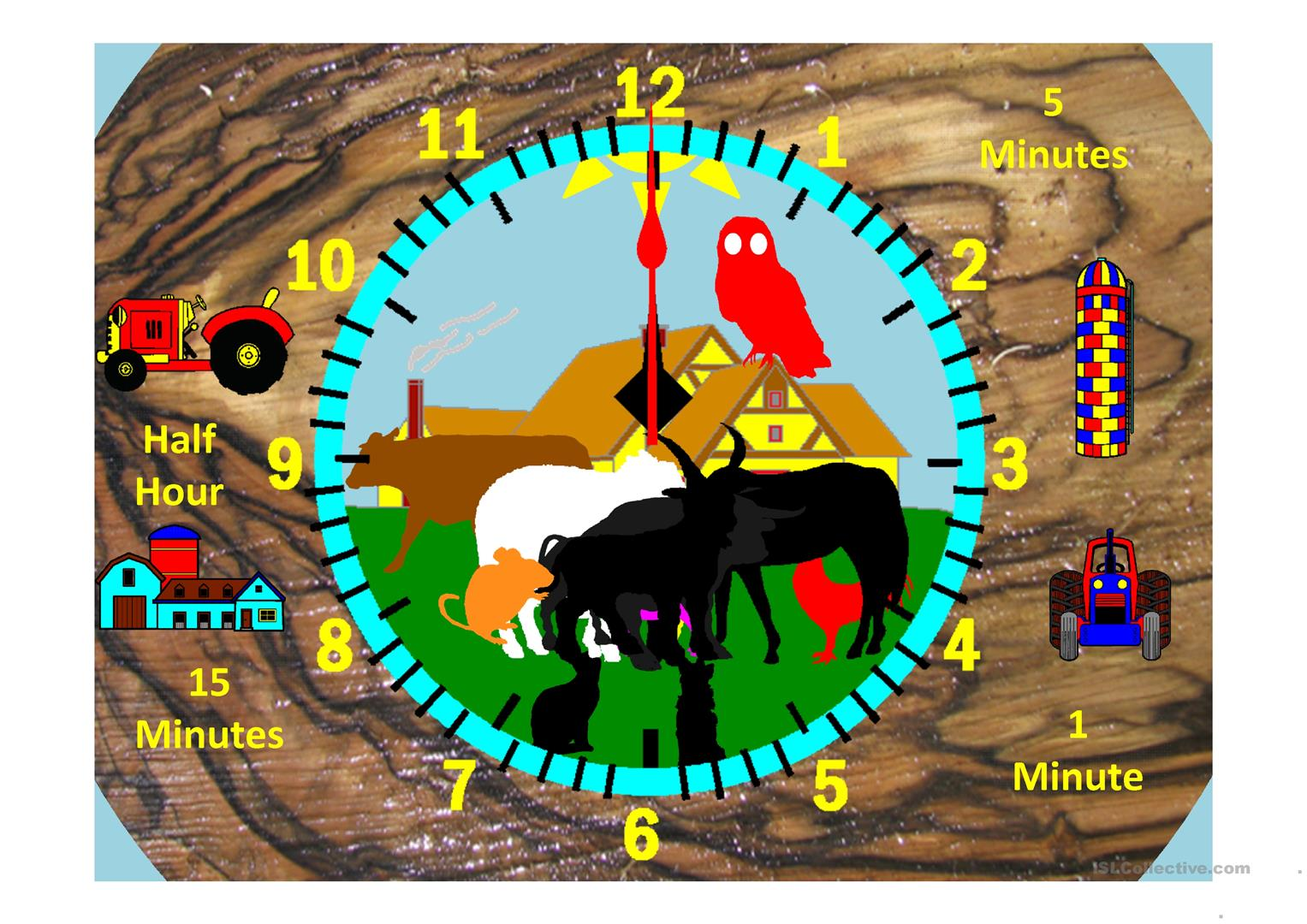 Farm Clock Hour And Minutes Variable Worksheet