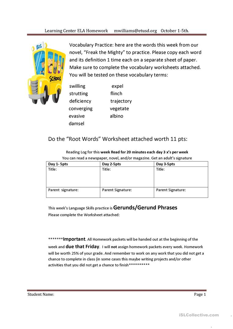 hight resolution of Homework Packet for English - English ESL Worksheets for distance learning  and physical classrooms