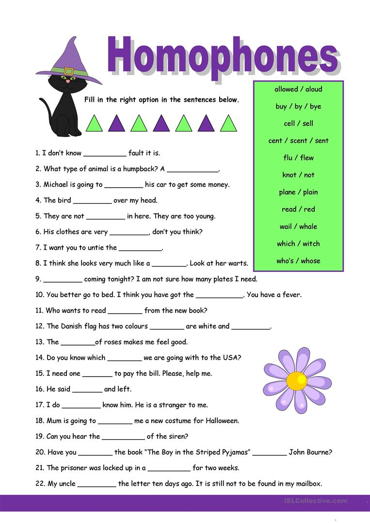 Homophones 1 Worksheet  Free Esl Printable Worksheets Made By Teachers