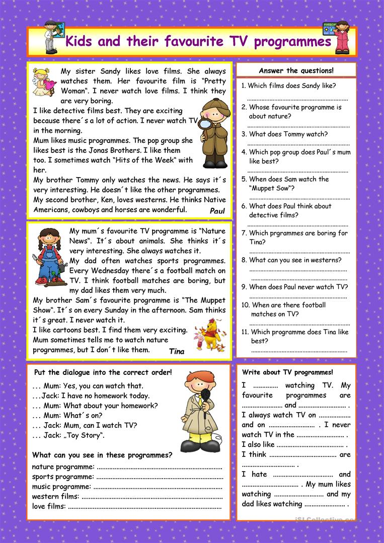 Kids And Their Favourite Tv Programmes Key Worksheet