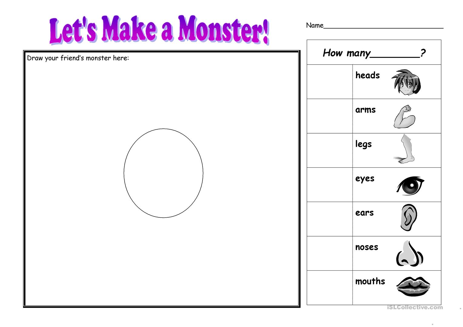 Make A Monster Worksheet