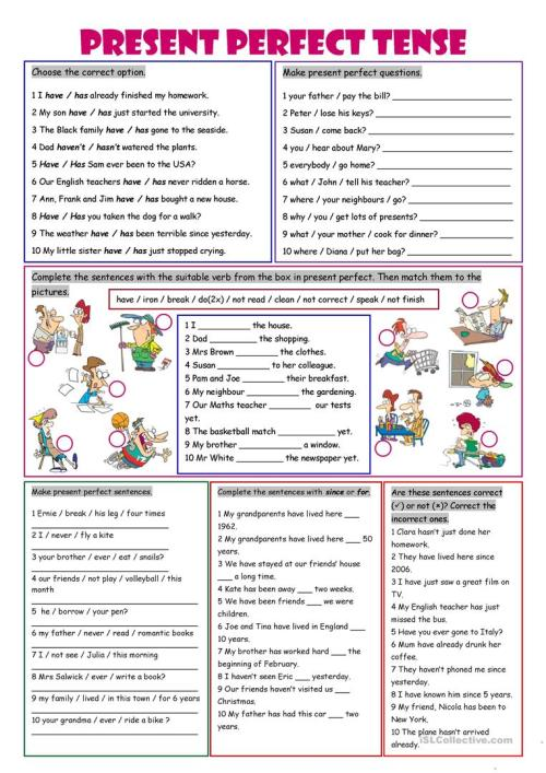 small resolution of Present Perfect Tense - English ESL Worksheets for distance learning and  physical classrooms
