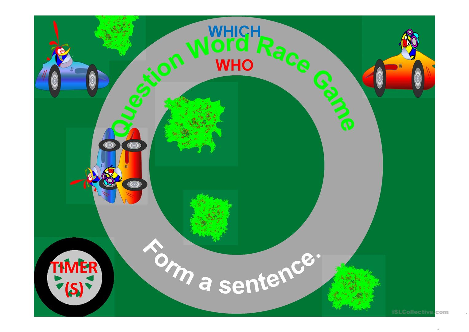 Question Word Race Car Game With Timers Worksheet