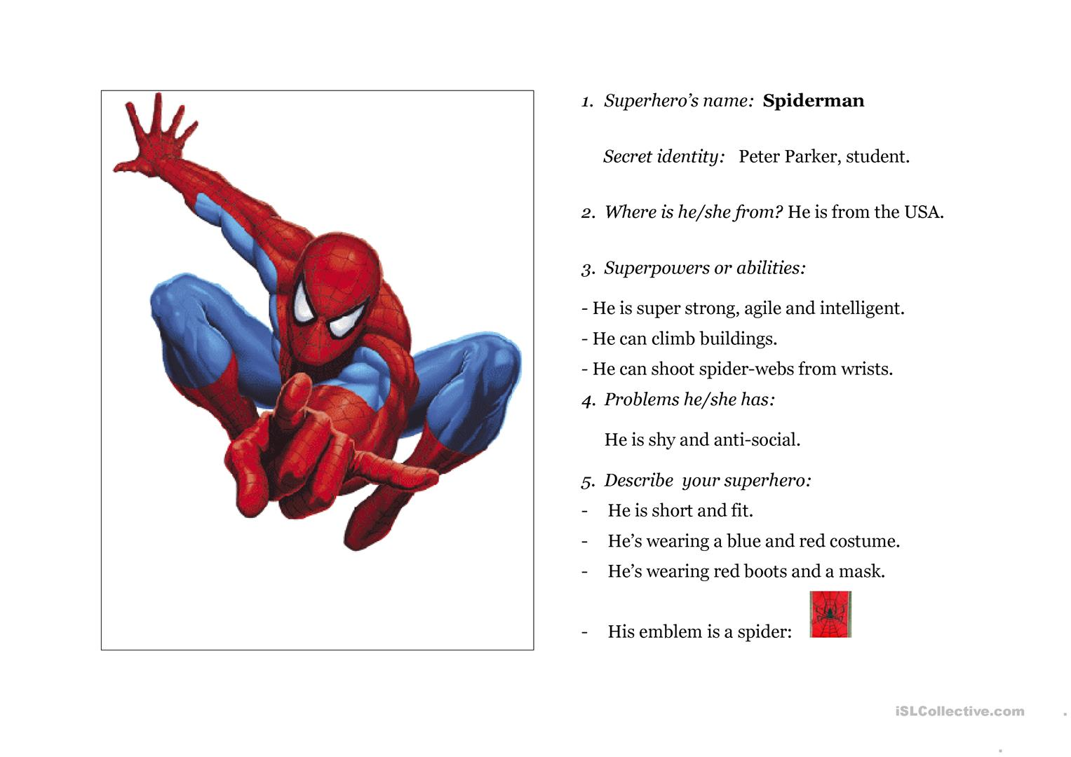 Superheroes Worksheet