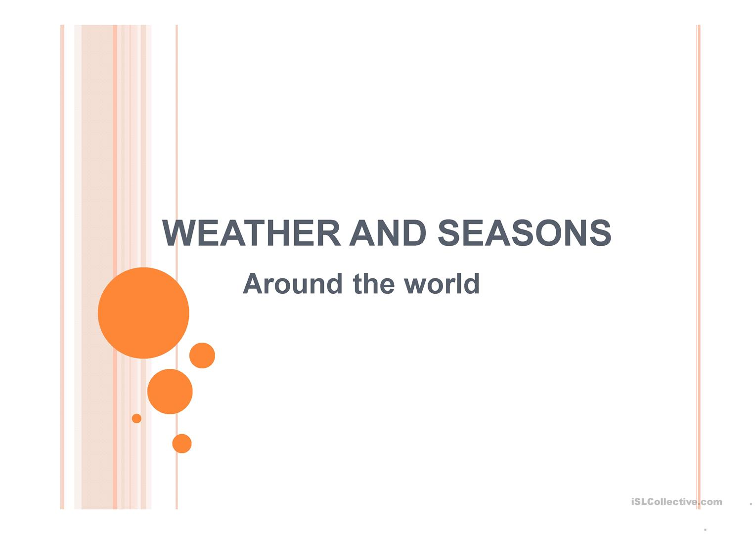 Weather And Seasons Around The World Worksheet
