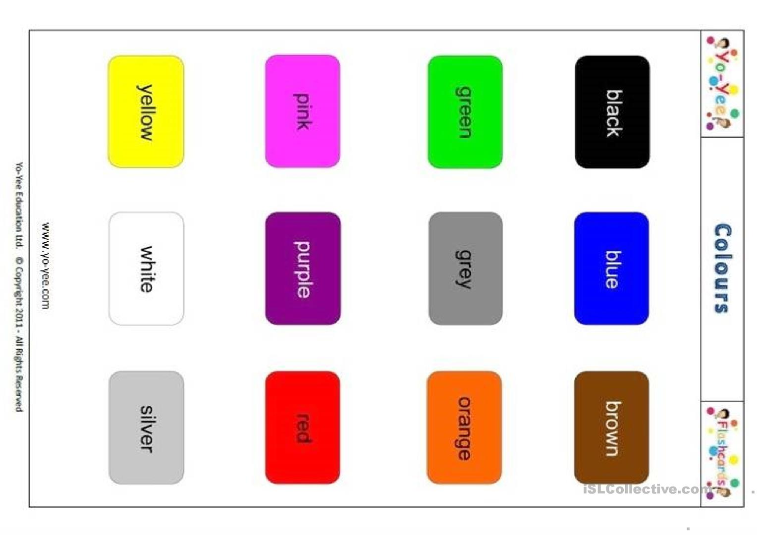 Yo Yee Colour Flashcards Worksheet