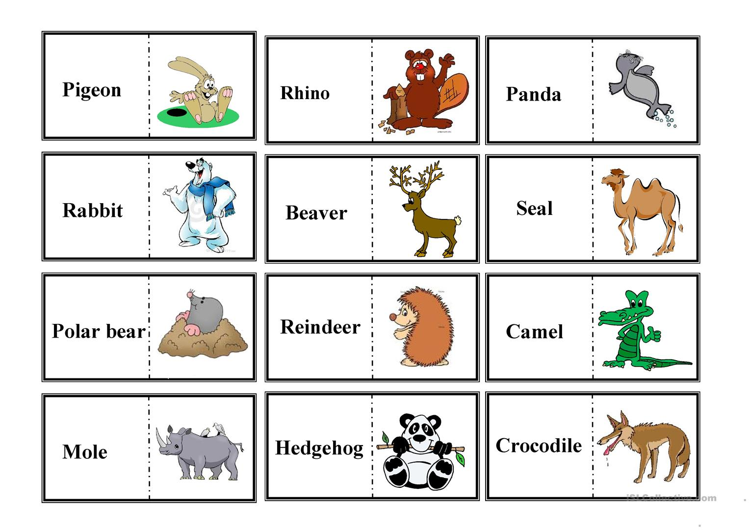 Animal Domino Worksheet