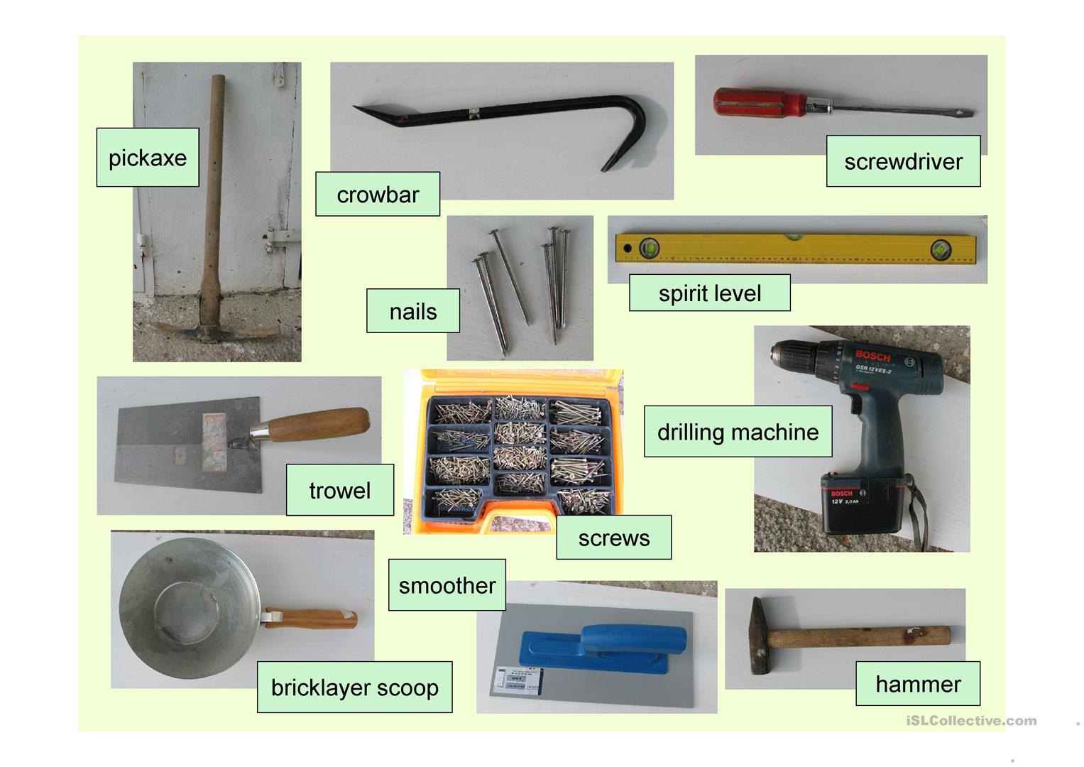 Building Tools Vocabulary Worksheet