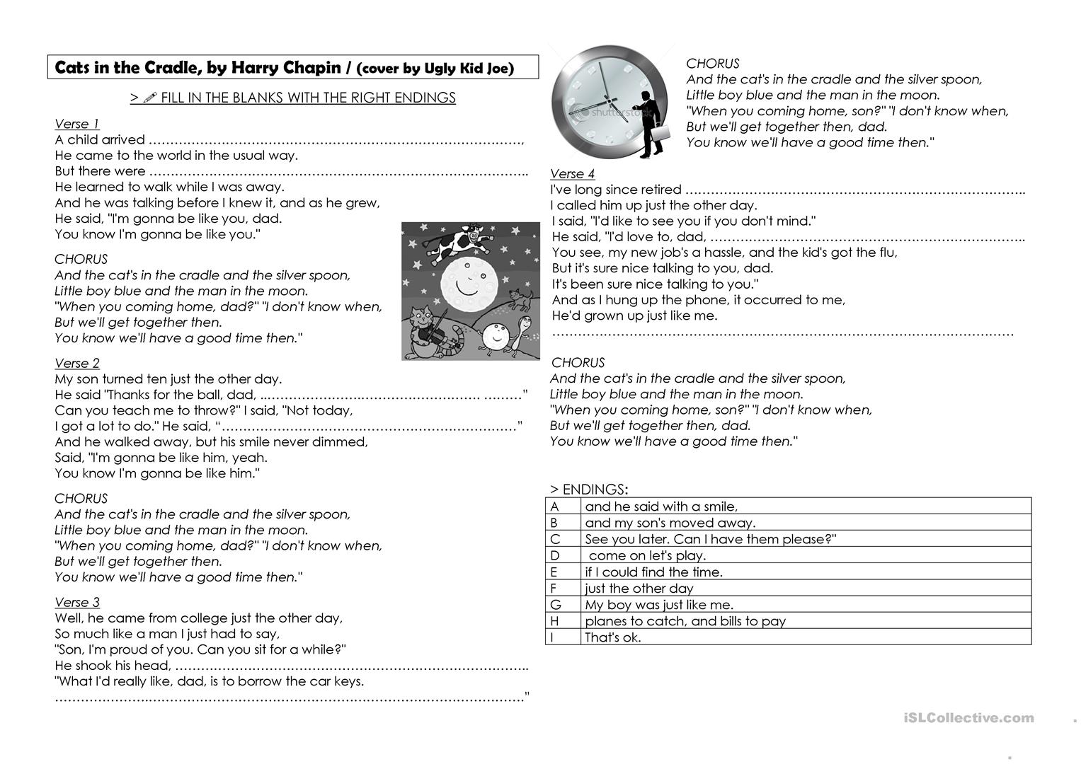 Cats In The Cradle Worksheet