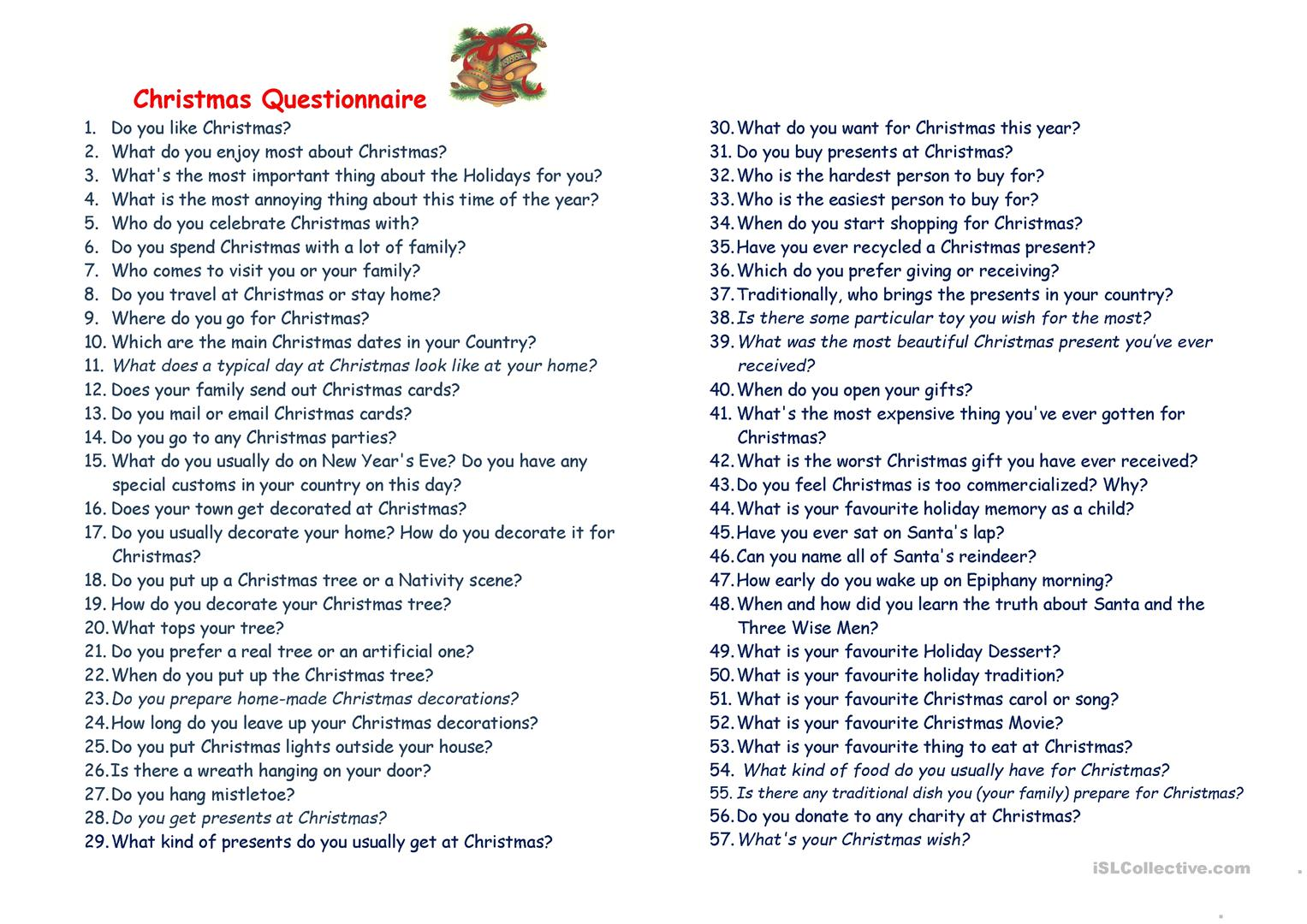 Christmas Questionnaire Worksheet