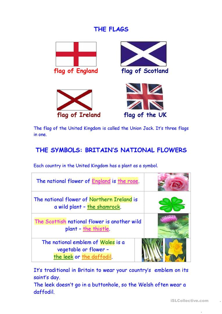 Flowers And Flags Of Great Britain Worksheet