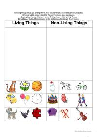 Worksheets. Living And Nonliving Things Worksheets
