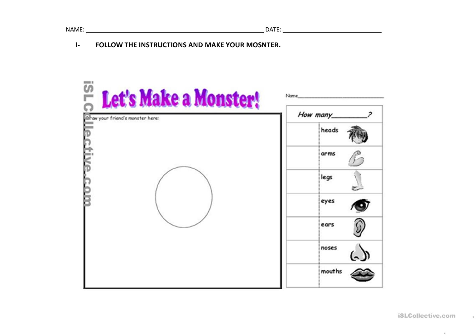Monster Body Parts Worksheet