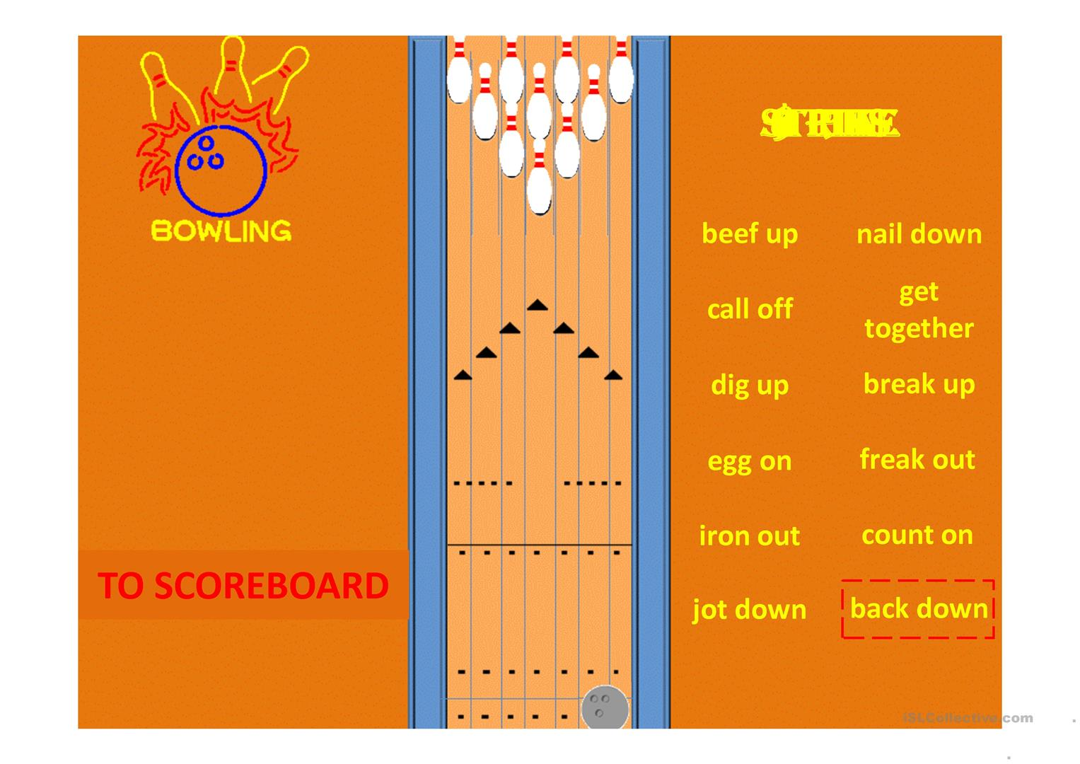 Phrasal Verbs Ppt Solo Bowling Game