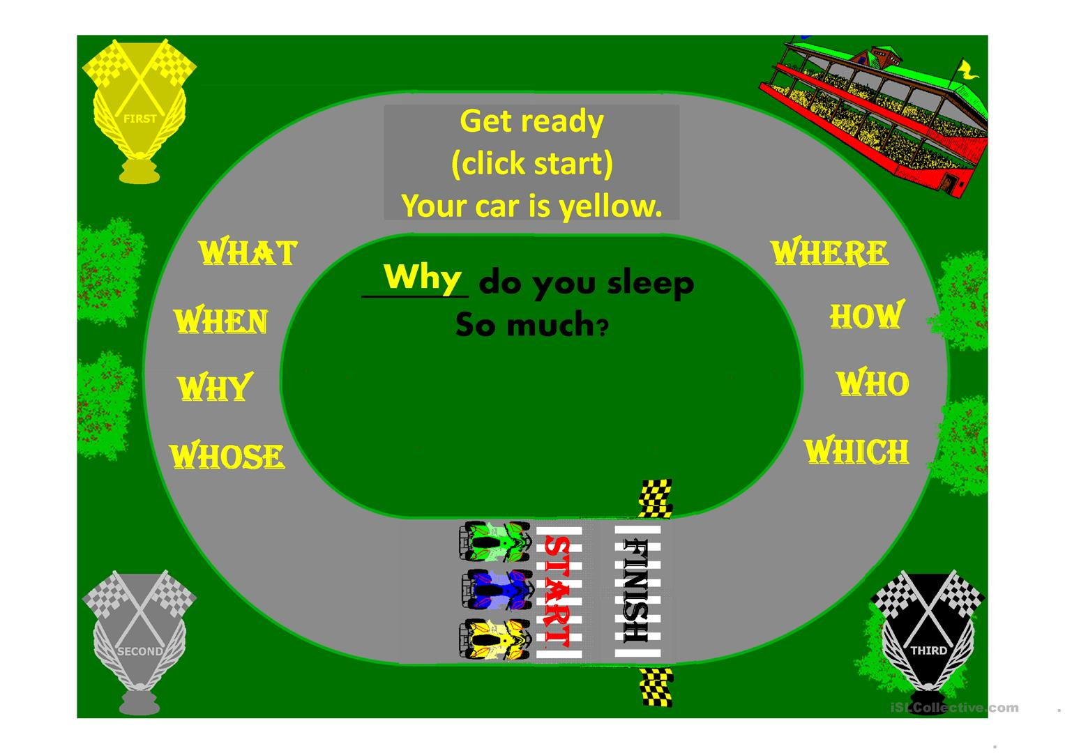 Question Word Go Kart Race Game Animated Worksheet
