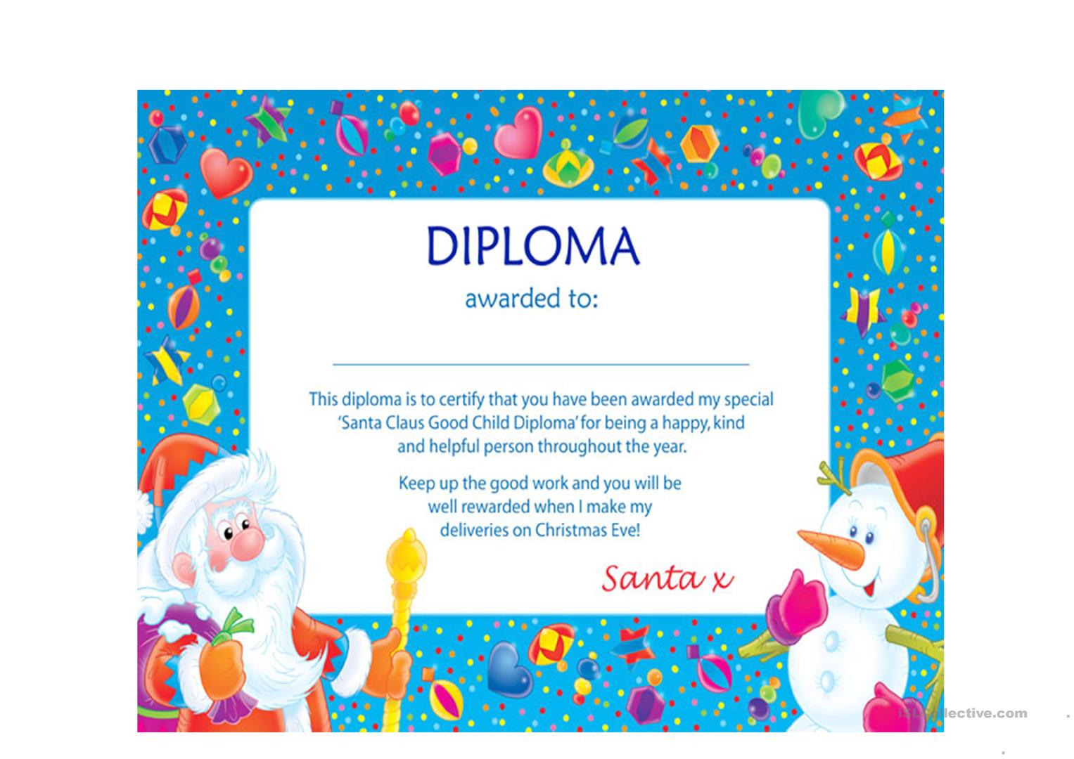 Santa Diploma Worksheet