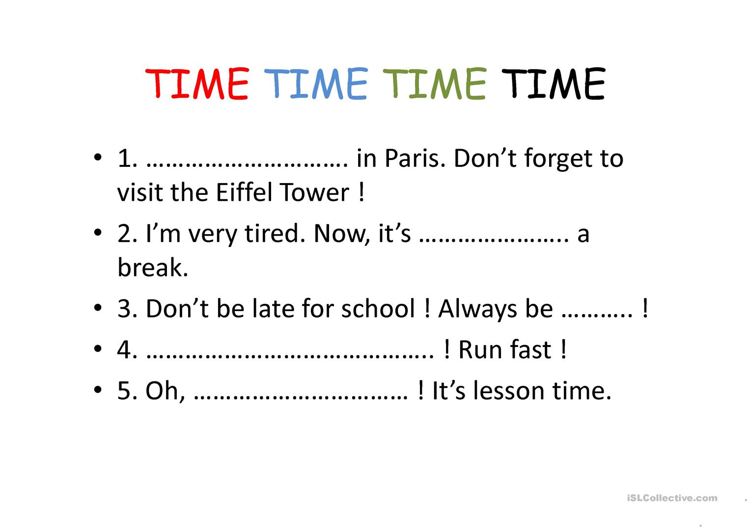 Time Vocabulary Worksheet
