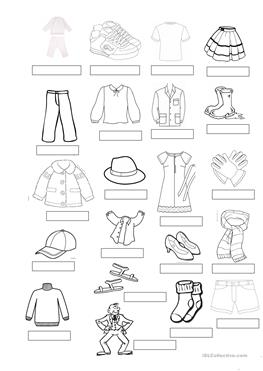 48 FREE ESL clothes vocabulary worksheets
