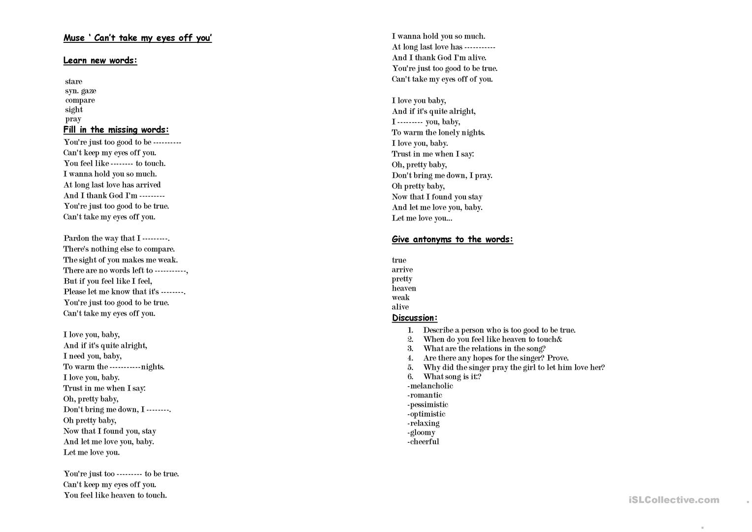A Song Can T Take My Eyes Off You Muse Worksheet