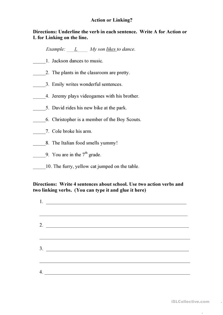 medium resolution of Action or Linking Verb? - English ESL Worksheets for distance learning and  physical classrooms