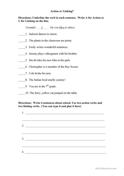 small resolution of Action or Linking Verb? - English ESL Worksheets for distance learning and  physical classrooms