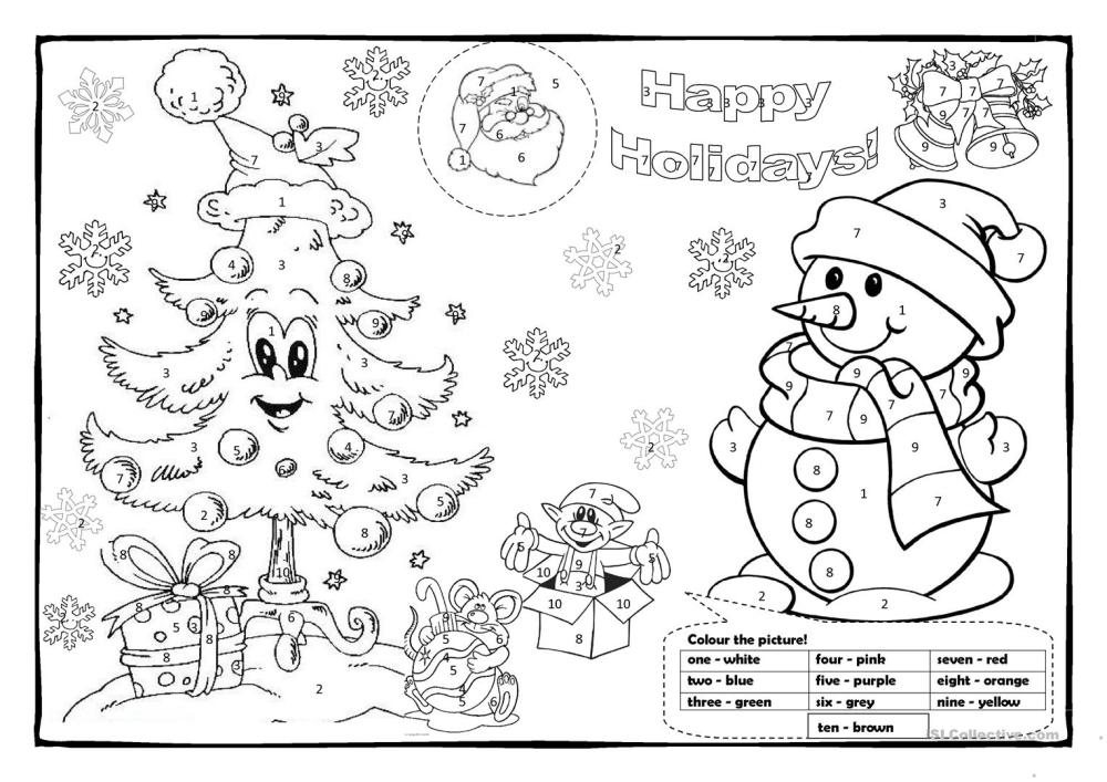 medium resolution of Christmas colouring 1! - English ESL Worksheets for distance learning and  physical classrooms
