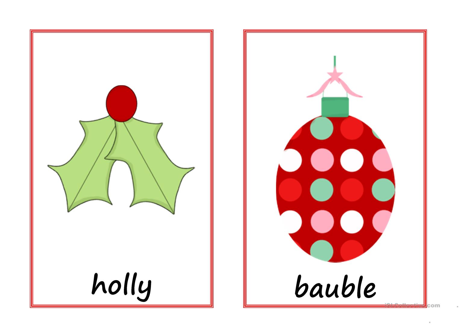 Christmas Flashcards With Text