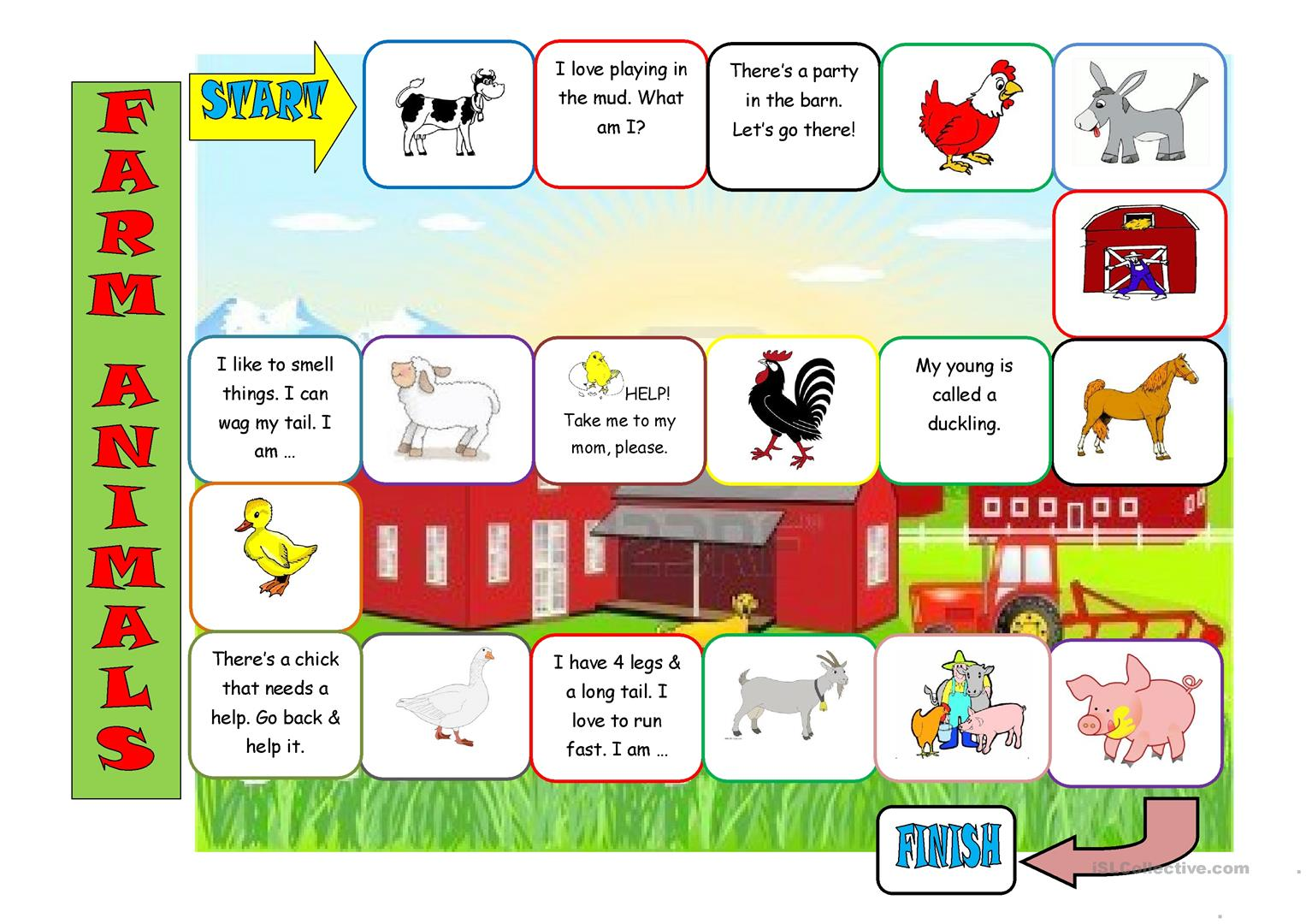 Farm Animals Board Game Worksheet