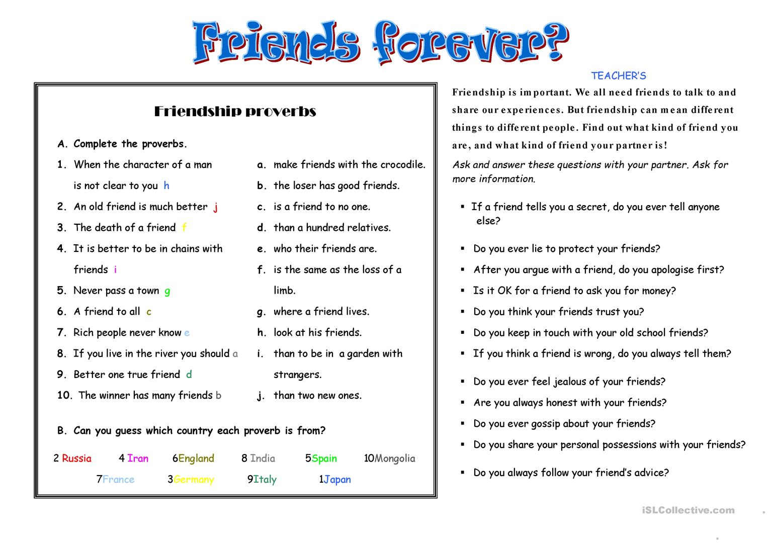 Friends Worksheet