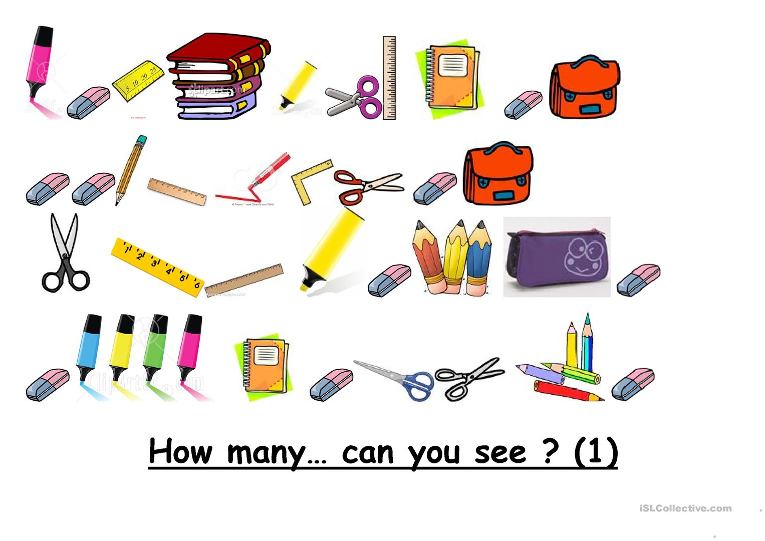 How Many School Objects Can You See