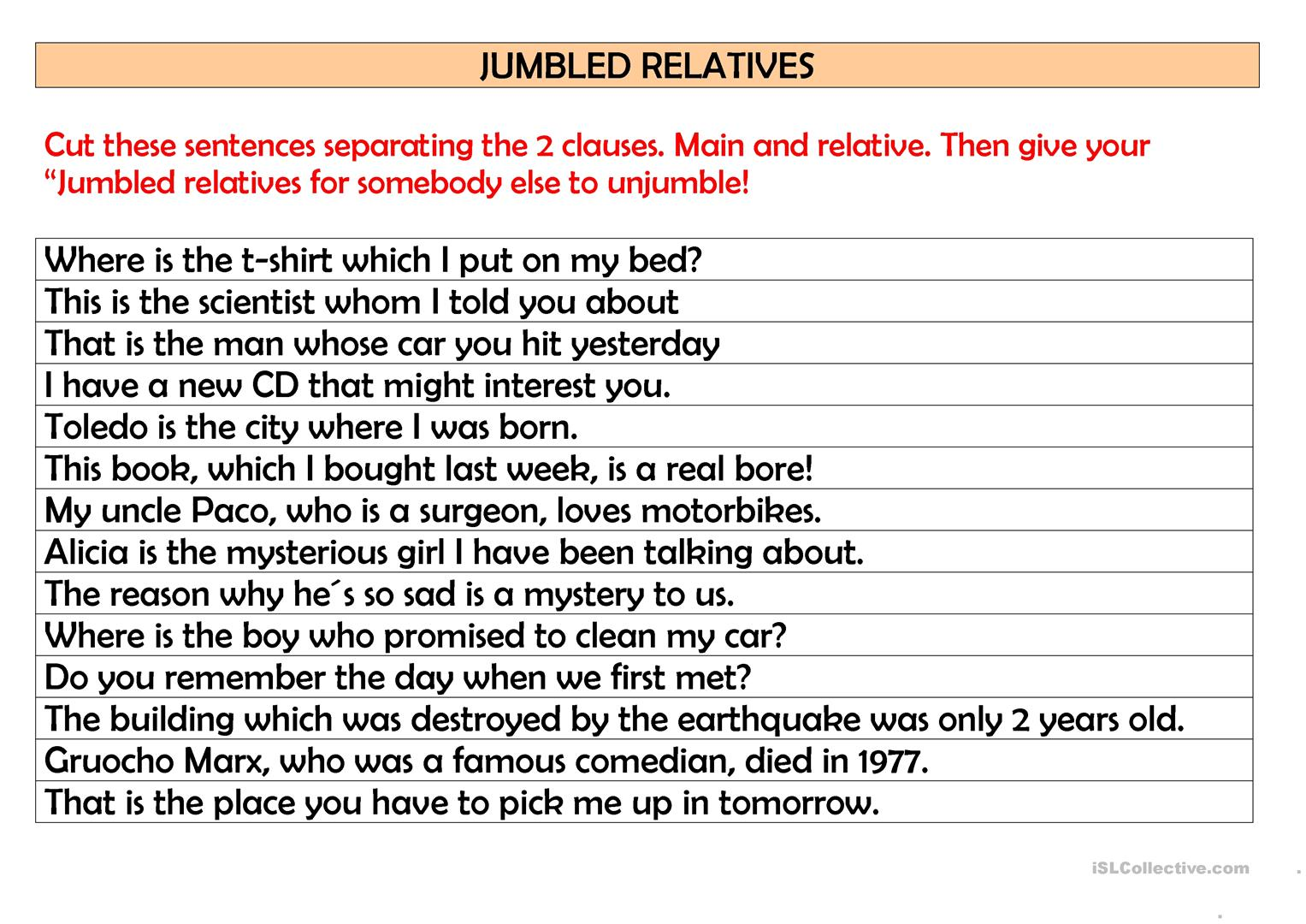Jumbled Relatives